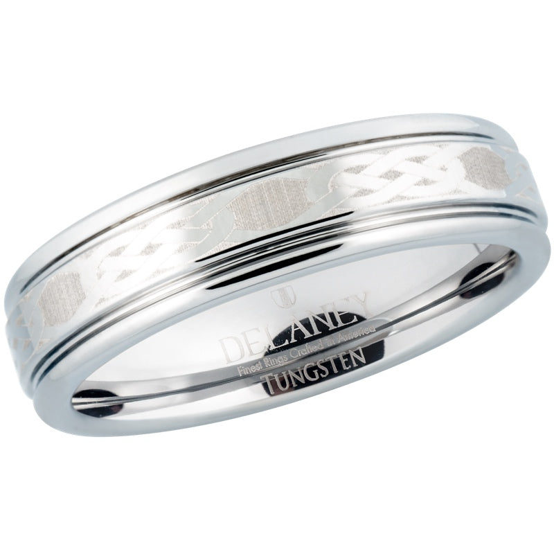 Celtic Knot Pattern Women's Tungsten Wedding Band