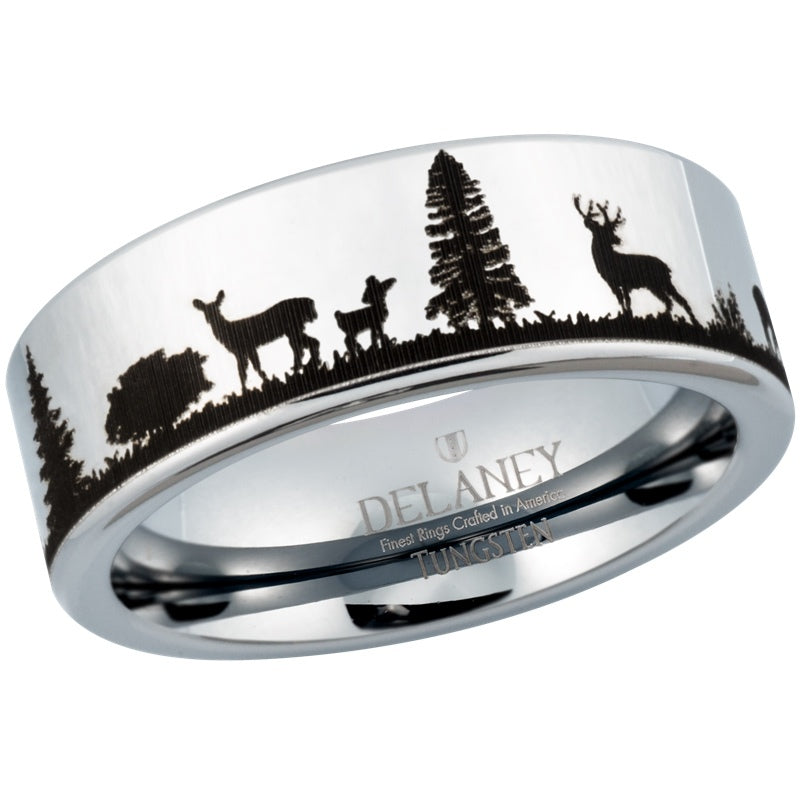 Deer Landscape Men's Tungsten Ring