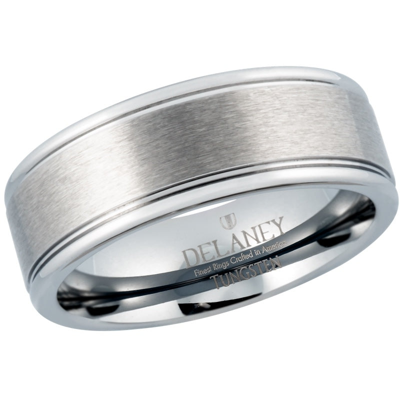 Brushed Center With Grooves Men's Tungsten Wedding Band