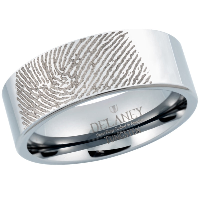Custom Fingerprint Engraved Men's Tungsten Ring