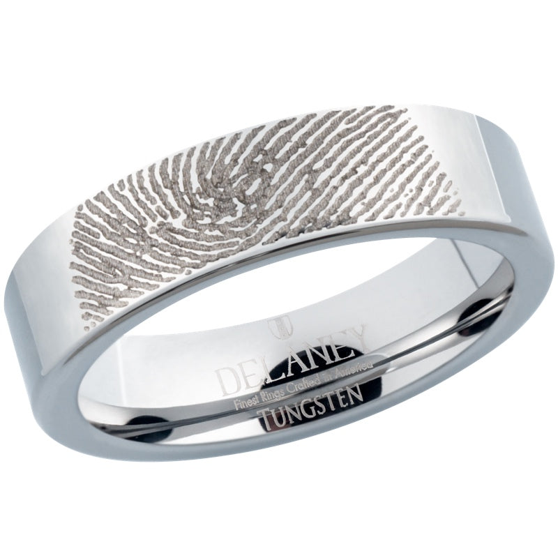 Fingerprint Engraved Women's Tungsten Ring