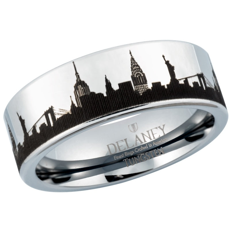 New York City Skyline Men's Tungsten Ring