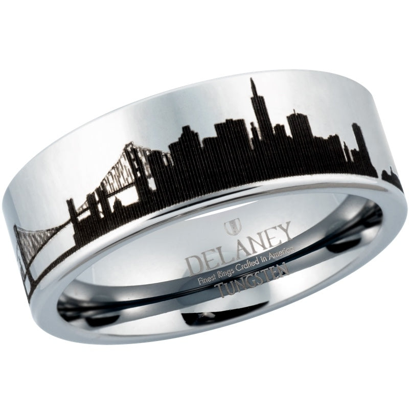 San Francisco Cityscape Men's Tungsten Ring