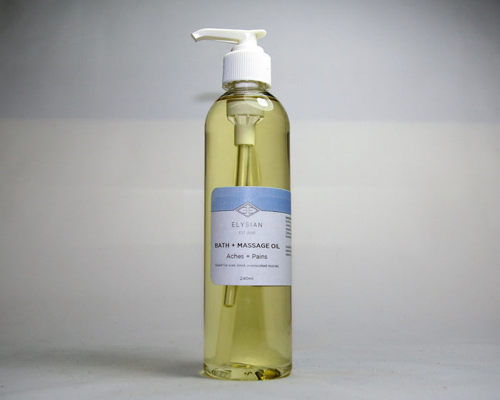 Aches + Pains Bath + Massage Oil - Elysian Natural Soap + Skin Care