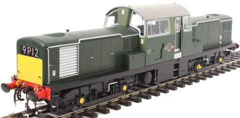 Class 17 'Clayton' in BR green with small yellow panels - unnumbered