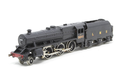 Class 5MT 'Black Five' 4-6-0 5041 in LMS Black - Pre-owned - missing one axle from front bogie - worn paintwork/ decals, fitted with kit-built tender, replacement box