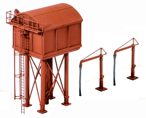 Square large water tower with two water cranes - plastic kit