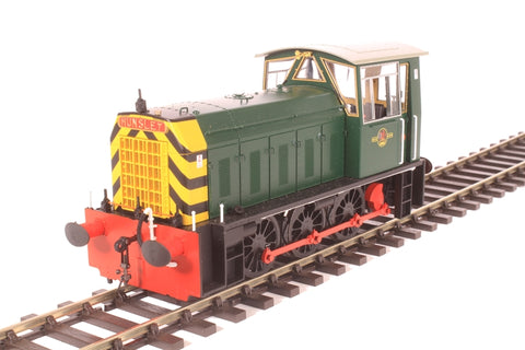 Class 05 shunter in BR green with wasp stripes (early version)