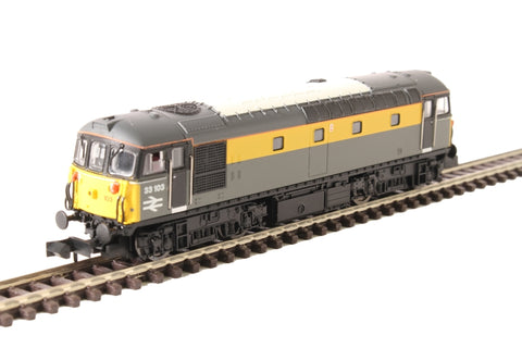 Class 33/1 33103 in BR civil engineers 'Dutch' livery