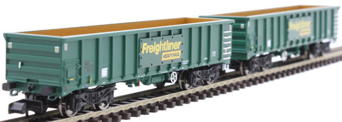 MJA mineral & aggregates twin bogie box wagon 502017 and 502018 in Freightliner green