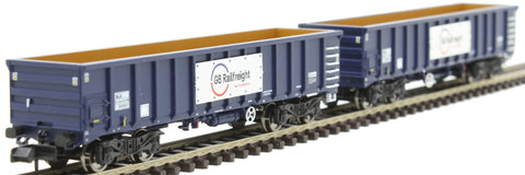 MJA mineral & aggregates twin bogie box wagon 502023 and 502024 in GB Railfreight blue