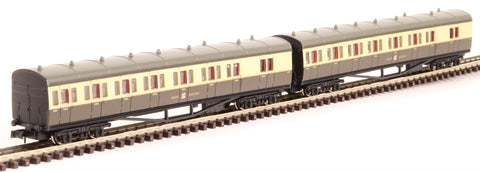 GWR B set 6453 and 6454 in GWR chocolate and cream with post-war crest