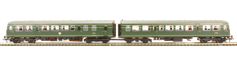"Class 101 2 Car DMU in BR green with small yellow warning panel ""Shrewsbury/Aberystwyth"""