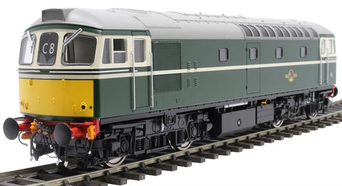 Class 33/0 in BR green with small yellow panels - unnumbered