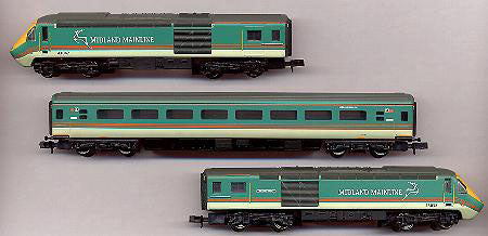 3 car HST Inter City 125 in Midland Mainline livery (power car, dummy power car and coach)