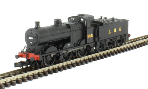 Class 4F 0-6-0 3851 in LMS black with Johnson tender