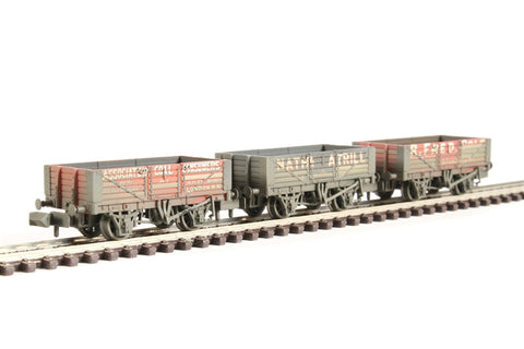 Pack of three 5 plank private owner 'Coal Trader' wagons - weathered