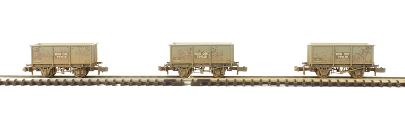 Triple Pack of Steel Tippler Wagons in BR grey 'Iron Ore' - weathered