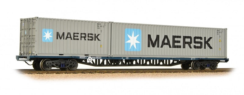 "Classic freightliner bogie wagon. Single ""inner"" FFA flat with 1 * 20' & 1 * 40' maritime containers"