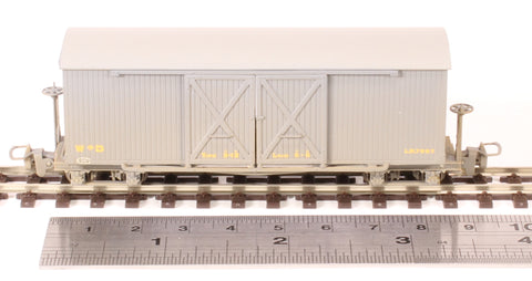 Bogie covered goods wagon in War Department grey - weathered