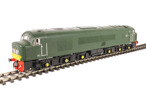 Class 45 'Peak' in BR green with small yellow panels and green roof - unnumbered