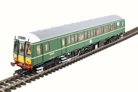 Class 121 single car DMU 'Bubblecar' W55028 in BR green with small yellow panels
