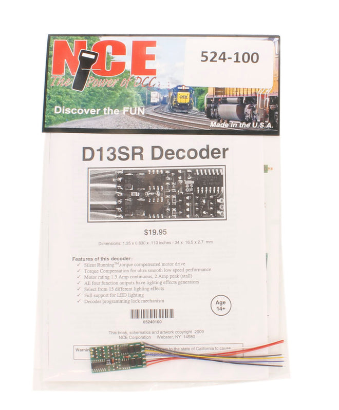 "4-function 1.3A (2A peak) D13SR wired decoder (Size: 1.35"" x 0.63"" x 0.110"" - very thin)"
