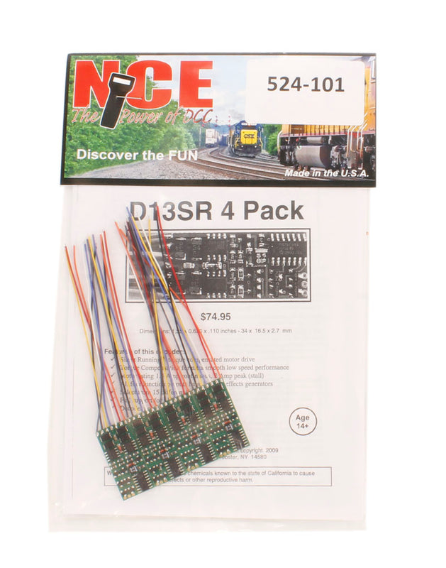 "4-function 1.3A (2A peak) D13SR wired decoder (Size: 1.35"" x 0.63"" x 0.110"" - very thin) x4"