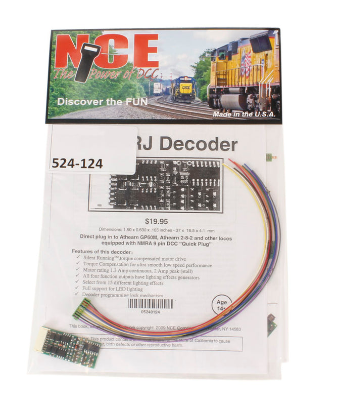 "4-function 1.3A (2A peak) D13SRJ decoder with wiring harness (1.50"" x 0.63"" x 0.25"")"