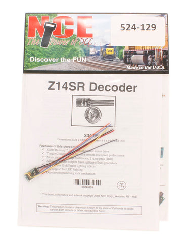 4-function 1A (1.25A peak) Z14SR small wired decoder (Size: 0.34