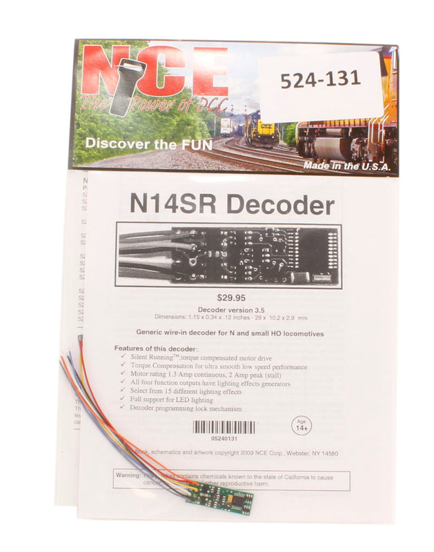"4-function 1A (1.25A peak) N14SR wired decoder (Size: 1.15"" x 0.4"" x 0.12"")"