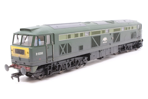 Class 53 diesel D0280 'Falcon' in BR two tone green with small yellow panels. Weathered. - Pre-owned - TTS Decoder Fitted - Etched detailing - minor glue marks