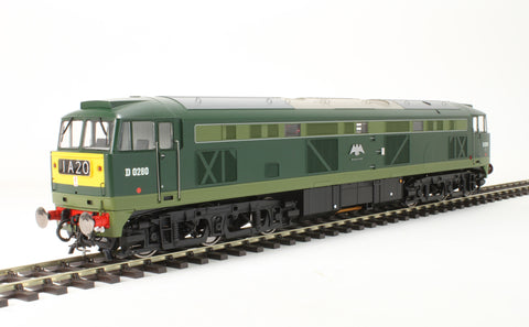 Class 53 D0280 'Falcon' in BR two tone green with small yellow panels.