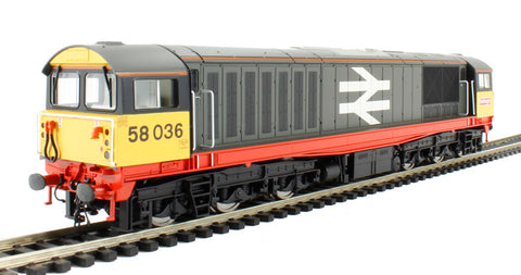 Class 58 58036 in Railfreight grey with red stripe