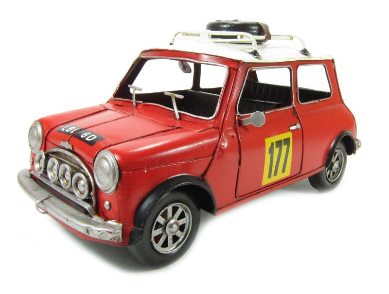1960 Mini Cooper With Roof Rack & Wheel in red - Tinplate Model