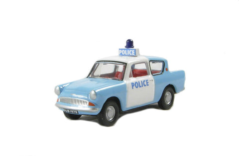Ford Anglia 105E police car in light blue and white