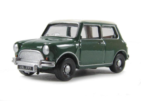 Austin Mini Almond in British Racing Green with Old English white roof