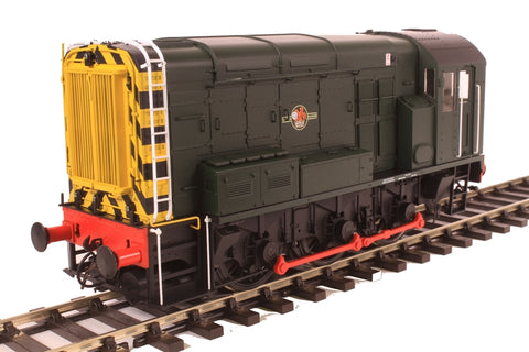 Class 08 shunter in BR green with late crest and wasp stripes - unnumbered
