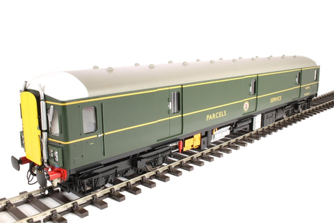 Class 128 parcels DMU W55992 in BR green with yellow doors