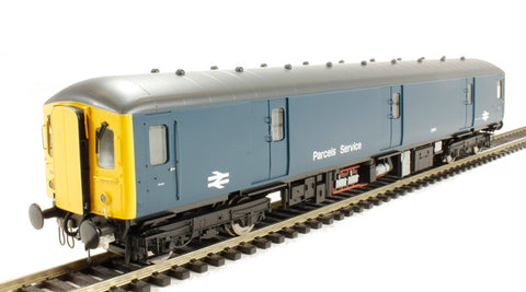 Class 128 parcels DMU 55991 in BR blue with yellow ends with