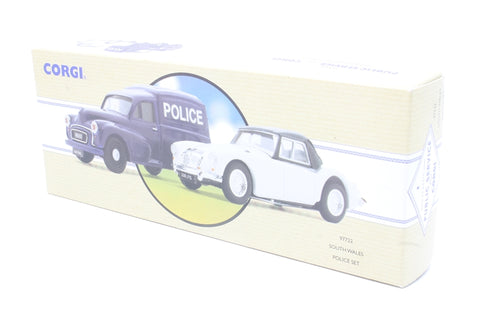 'South Wales Police' set, with Morris Minor Van & MGA 1600 Mk1 - Pre-owned - Like new box