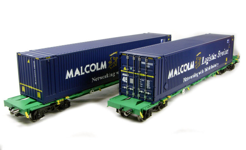"2 x Intermodal bogie wagons with 2 x 45ft containers ""Malcolm Logistics"""