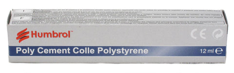 12ml tube of Humbrol Polystyrene Cement. Use for plastic kits and polystyrene