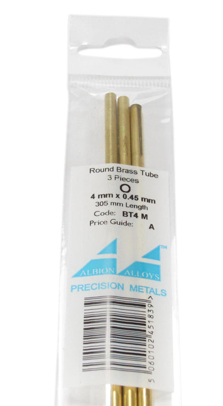 4mm Brass Tube x 3