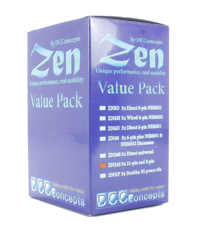 ZEN 218 21 & 8-pin 4-function 1.1A Decoder with Stay Alive (22x16x4mm) (5 Pack)