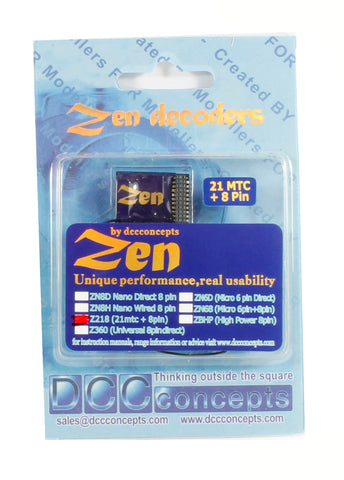 ZEN 218 21 & 8-pin 4-function 1.1A Decoder with Stay Alive (22x16x4mm)