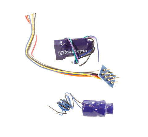 8-pin (harness) 4-function 1.1Amp decoder with back EMF and 'Stay Alive'