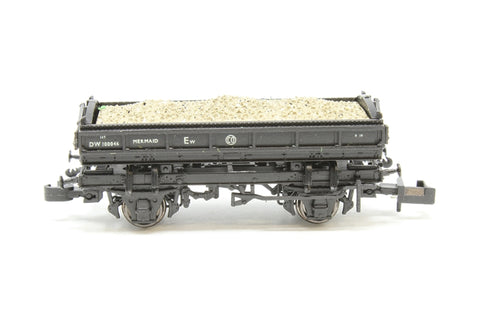 Mermaid side tipping ballast wagon ZJO DW100046 in BR black with straw lettering - Pre-owned - like new