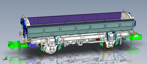 Mermaid side tipping ballast wagon ZJV DB989088 in BR olive green - Now produced by EFE Rail