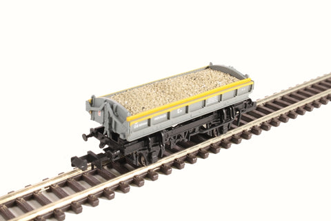 Mermaid side tipping ballast wagon ZJV DB989466 in Civil Engineers 'Dutch' grey and yellow